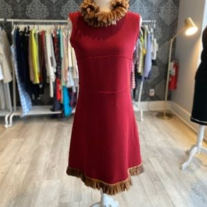 Amazing custom made mink trim dress